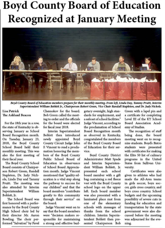 Beacon article about BCPS's recognition of the Board of Education members.