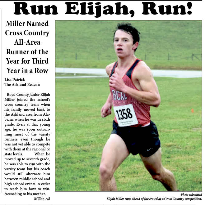 Front page story about Elijah Miller receiving the Independent's All-Area Runner of the Year.