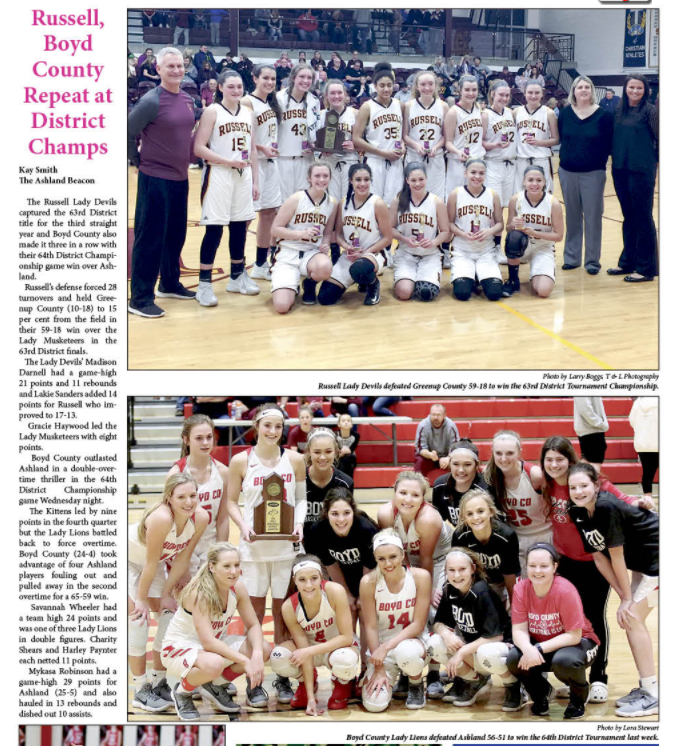 Article from the Greater Ashland Beacon about BCHS's girls basketball team winning the 64th District Championship.