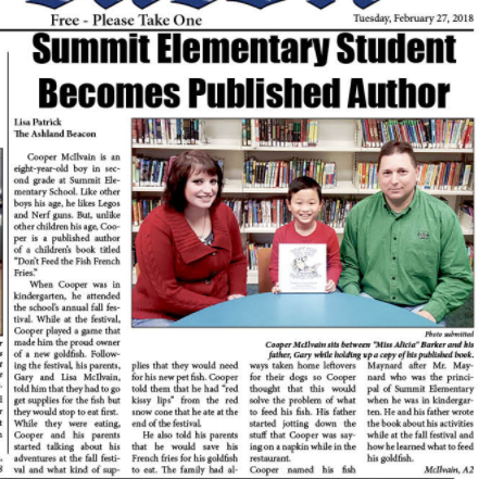 Picture of Greater Ashland Beacon story about Cooper McIlvain who has published a book at age 8.