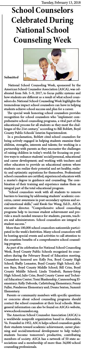 Greater Ashland Beacon article praising our district's school counselors.