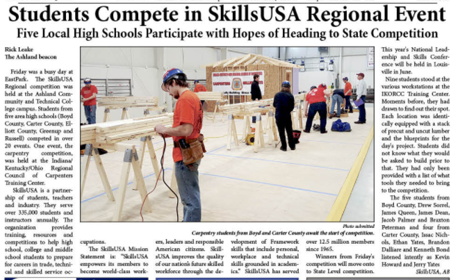 Picture of the SkillsUSA competition in the Greater Ashland Beacon.
