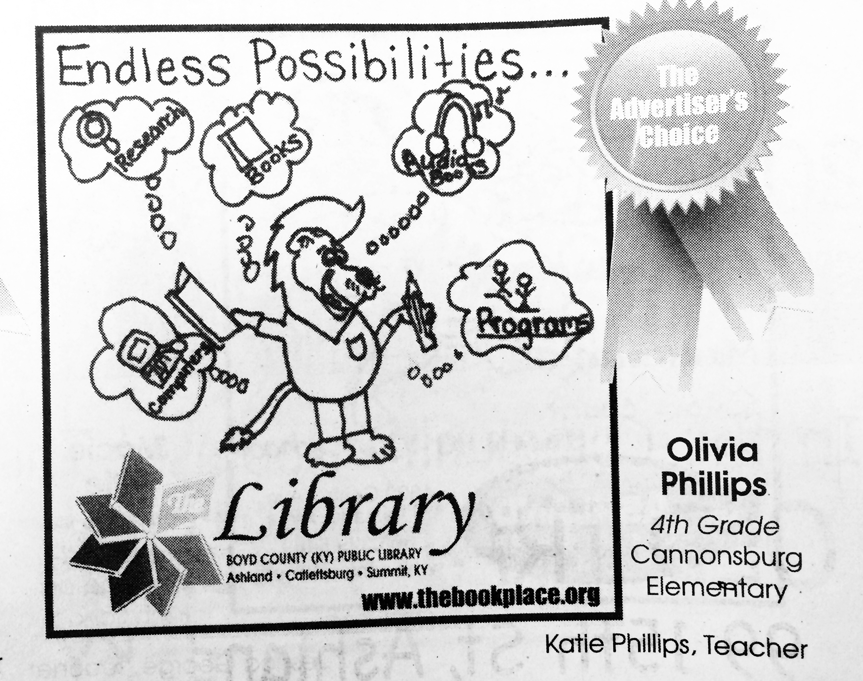 Olivia Phillips, a 4th grader at Cannonsburg Elementary, received an Advertiser's Choice Award.