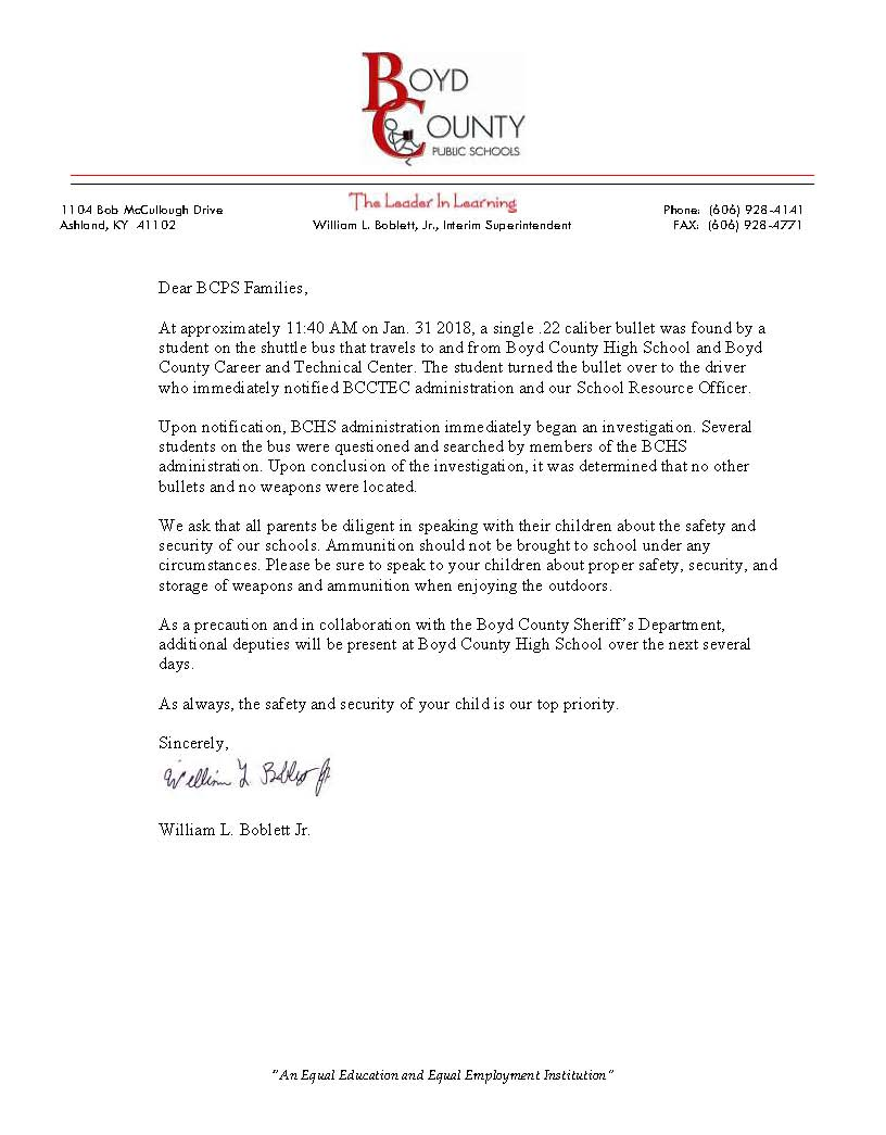 Letter to parents regarding safety issue at BCCTEC.