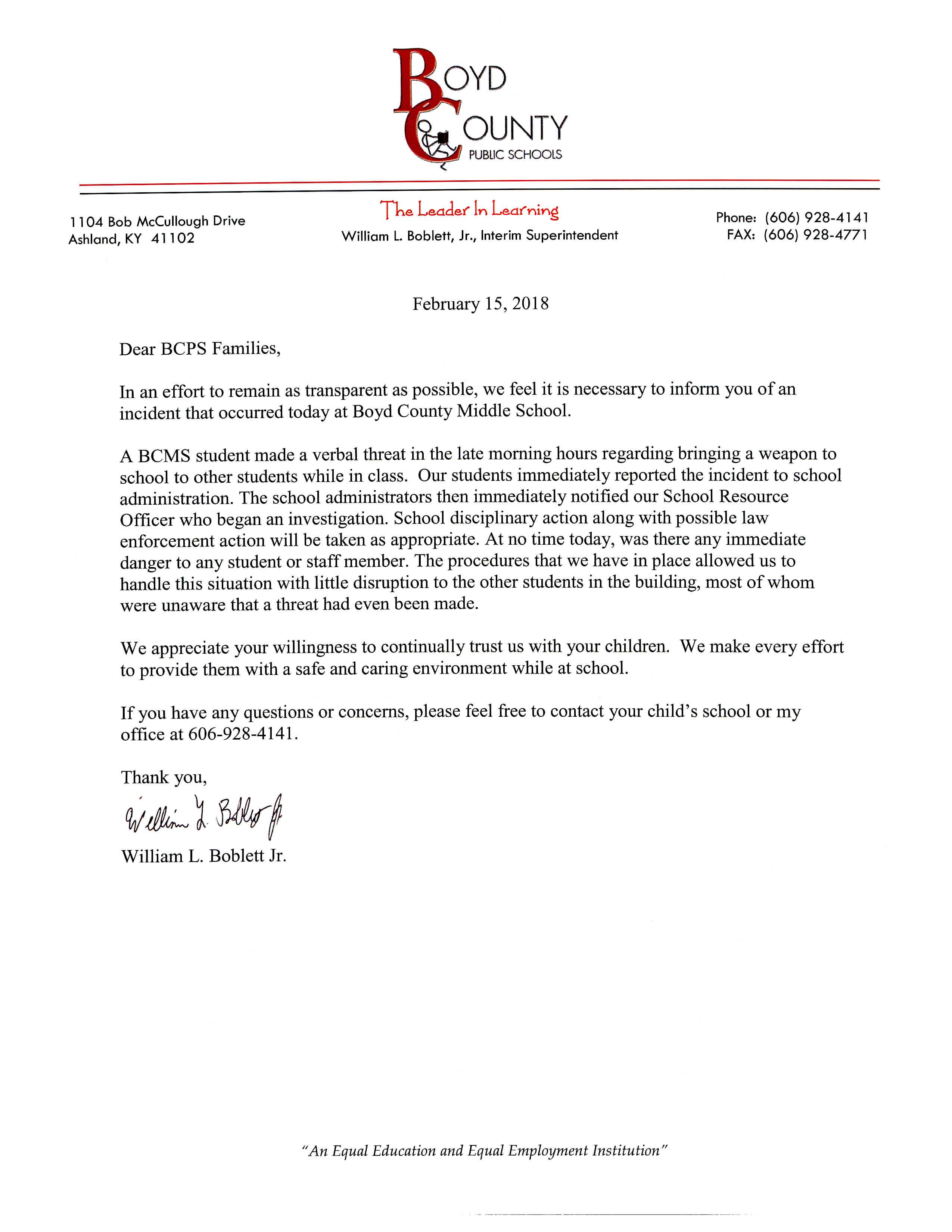 Letter to parents regarding a threat to bring a firearm to school.