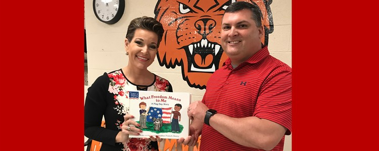 Former Miss America Heather Renee French graciously donating books to the Catlettsburg Elementary Library