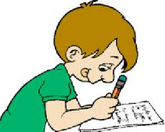 Clip art of a drawing of a child working on homework.